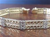 "7"" DIAMOND CUT LINK 6.5mm BRACELET REAL 10k YELLOW & WHITE GOLD 7.7g"